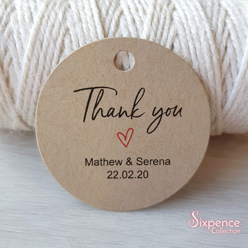 Thank you Personalised Tags White or Kraft Brown 45mm Heart design