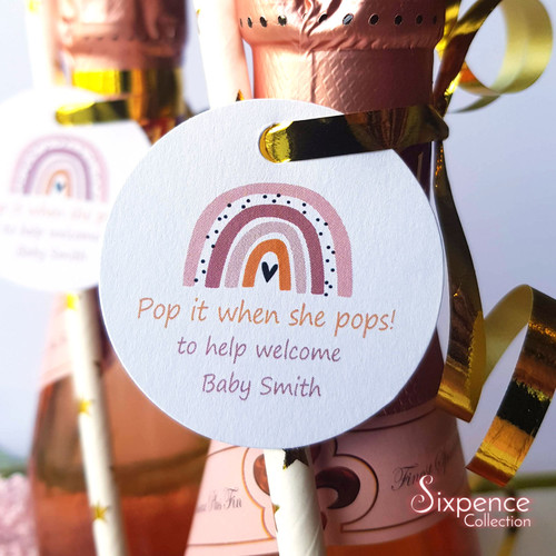 Pop it when she pops! Rainbow Mini Champagne Baby shower Favour Tags 45mm