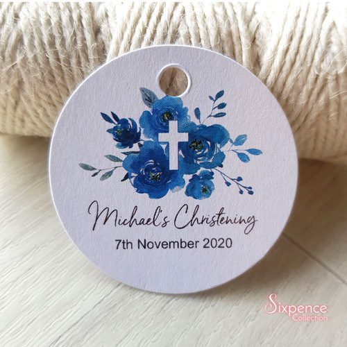 Christening tags, Baptism, Holy Communion, blue floral || TAGS ONLY
