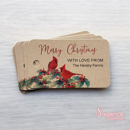 Cardinal Christmas Personalised Gift Tags - White or Kraft Brown available