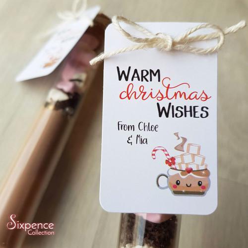 Warm Christmas Wishes Tags, Printed Christmas Tags, Hot Chocolate Tags, DIY Christmas gifts || Tags only