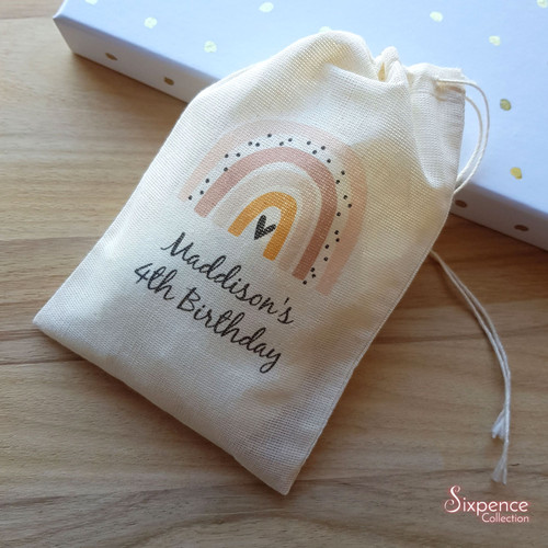 Rainbow Party Personalised Muslin Bags. 3 rainbow colours to choose from.