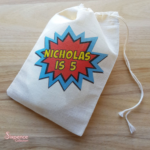 Superhero Birthday Personalised Muslin Party Bags