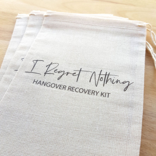 I Regret Nothing Hangover Recovery Kit Muslin Bags