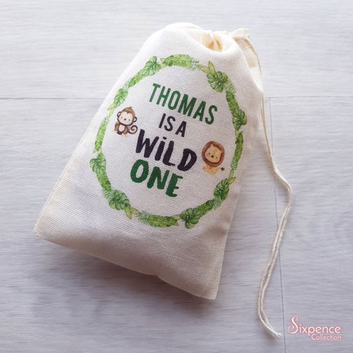 Wild One Birthday Personalised First Birthday Muslin Party Bags