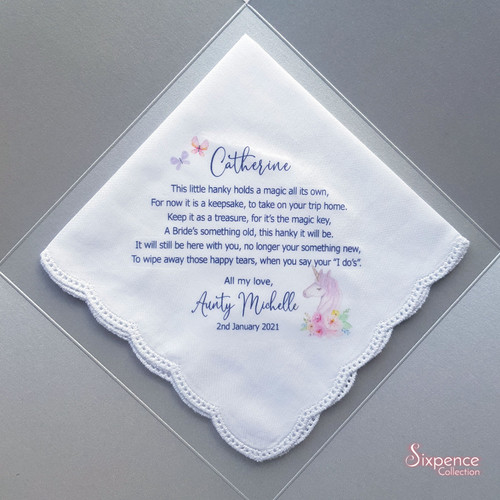 Flower Girl Magic Unicorn Printed Wedding Handkerchief
