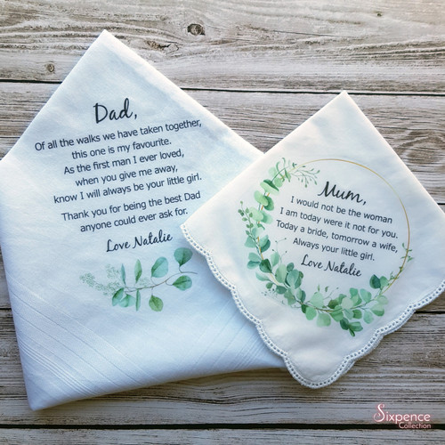 Parents of the Bride Wedding Handkerchief Set. Greenery Theme - includes gift packaging.
