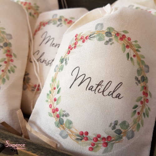 Personalised Christmas Muslin Gift Bags - Berry Wreath Design