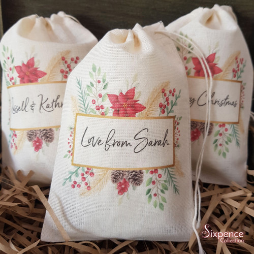 Personalised Christmas Muslin Gift Bags - Poinsettia Pinecone Design