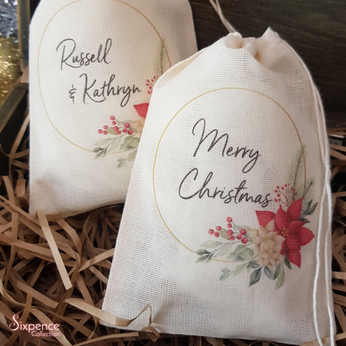 Personalised Christmas Muslin Gift Bags - Poinsettia Design