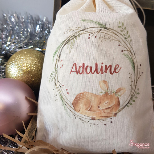 Christmas Deer Personalised Muslin Gift Bag