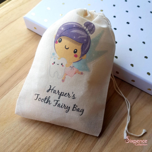 Tooth Fairy Personalised Muslin Bag - 3 different designs to choose from