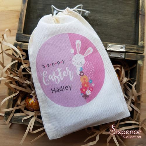 Personalised Happy Easter Muslin Goodie Bags