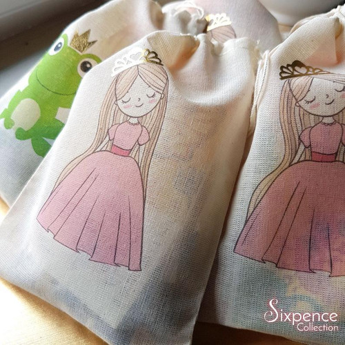 Princess Party favor bags with Gold Foil Tiara. Frog with Goil Foil Crown option. Fairytale Princess party.
