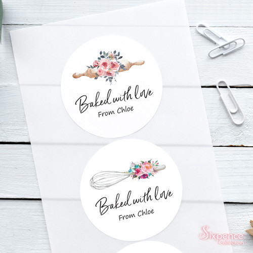 Baked with love floral Stickers - Choice of 2 designs