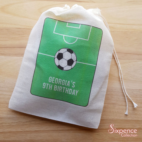Soccer Themed Personalised Birthday Muslin Party Bags