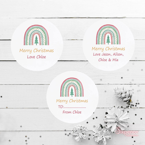 Festive Rainbow Christmas Personalised Stickers