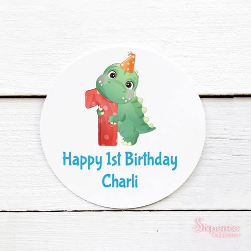 Dinosaur Personalised Birthday Stickers - Ages 1 - 9