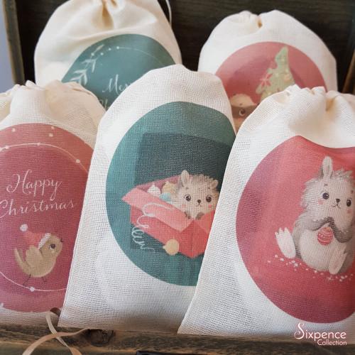 Woodland Christmas Themed Gift Bags - 5 design options