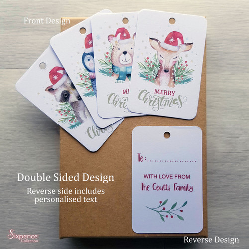 Festive Animals Christmas Tags - Double Sided Design - personalised text on back - Deer, Raccoon, Bear, Penguin