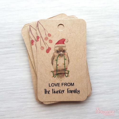 Australian Animals Personalised Christmas Gift Tags - Kookaburra, Echidna, Koala, Koala