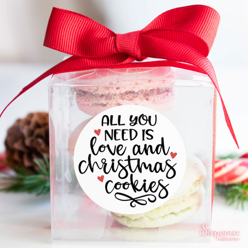 Christmas Cookies Sticker Labels - All you need is love and christmas cookies