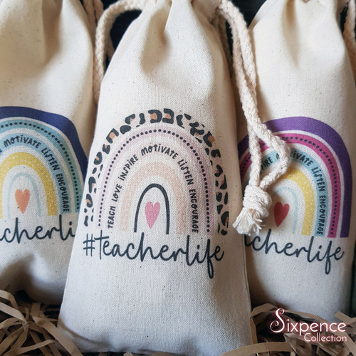 Teacherlife Thank You Calico Bags - 3 designs to choose from