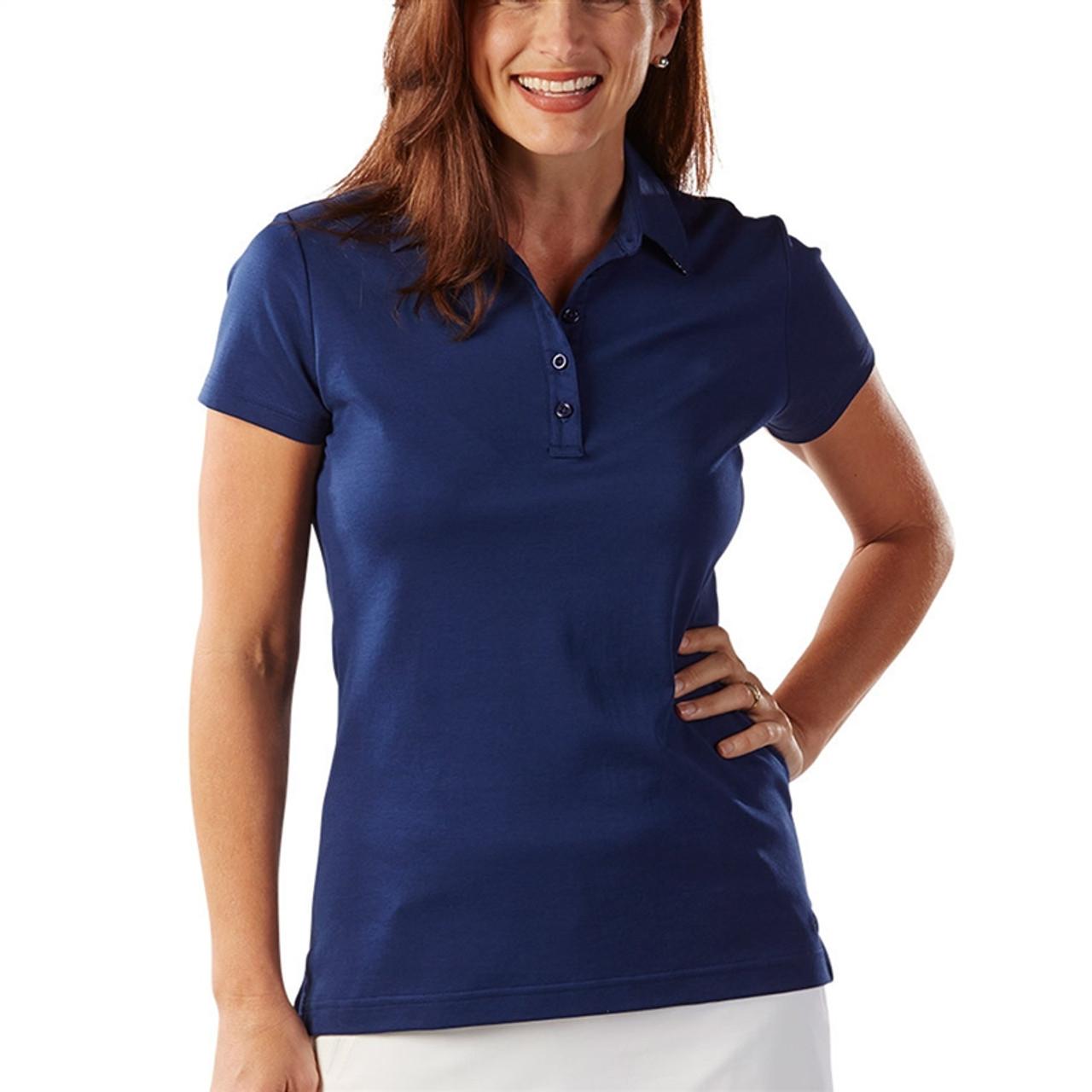 df15211607c6 Bobby Jones Supreme Cotton Solid Summer Navy Polo | Golf4Her
