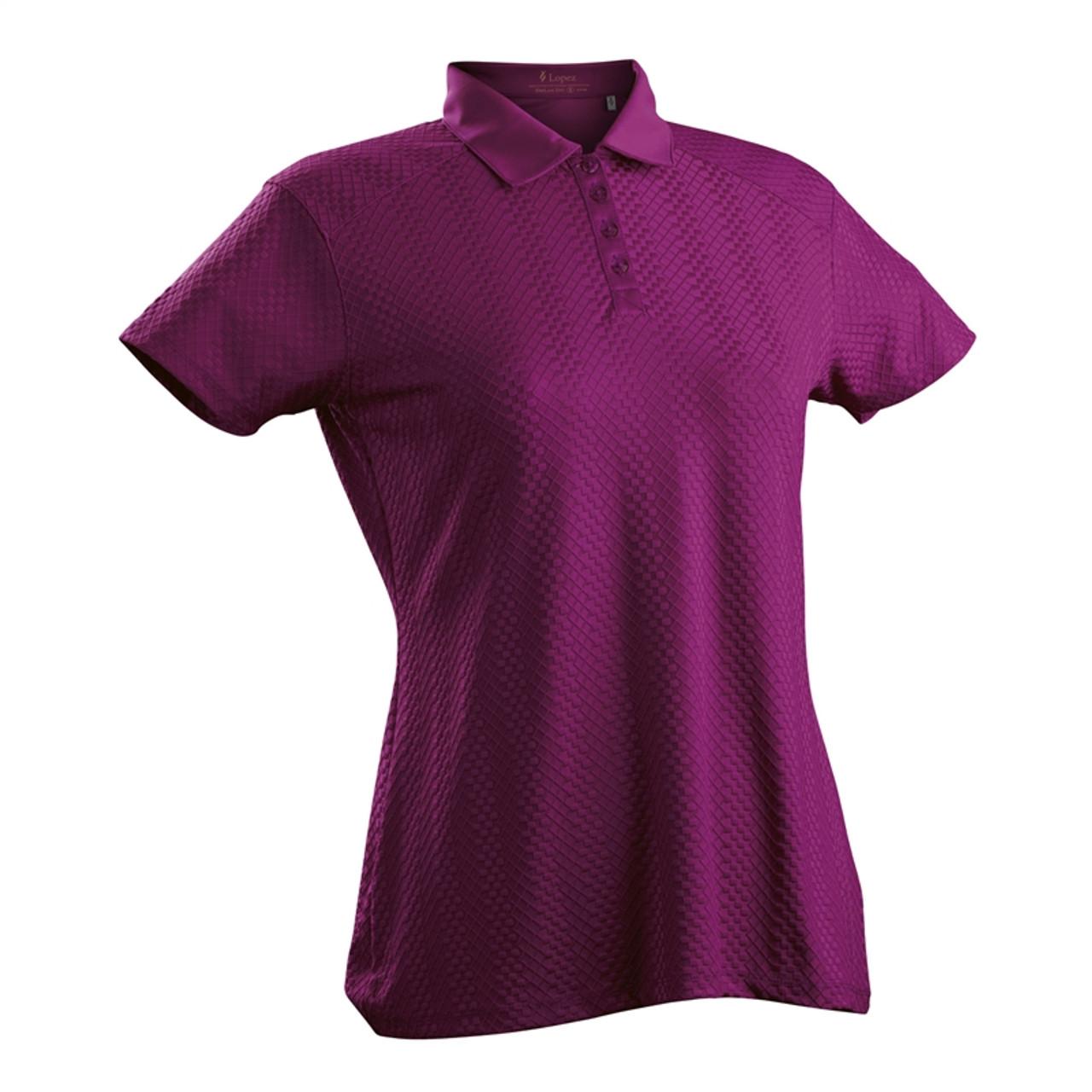 b68f964b Nancy Lopez Grace Dark Magenta Short Sleeve Polo   Golf4Her