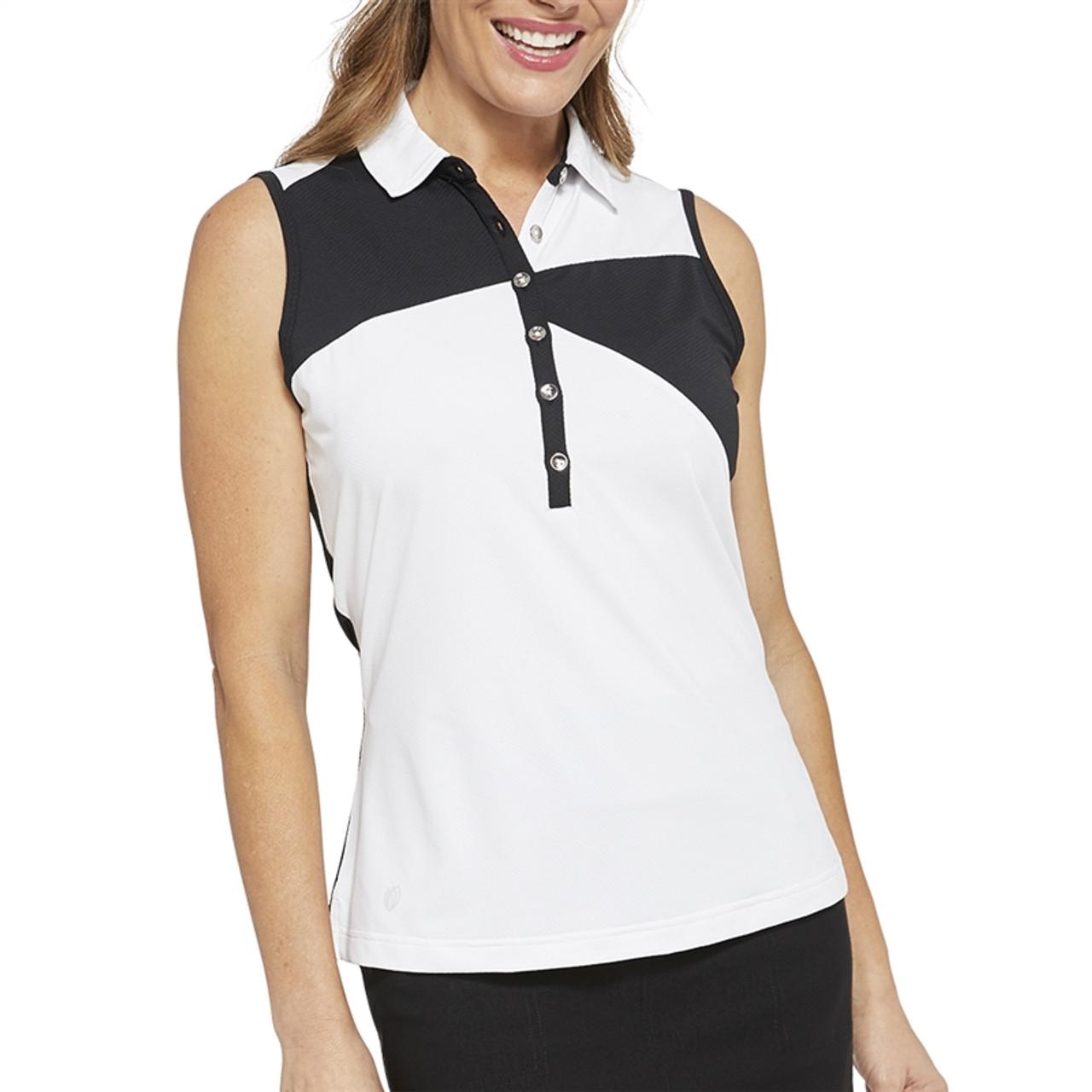 1f7b4fb7 GG Blue Jewel Sleeveless Golf Polo - White/Black | Golf4Her