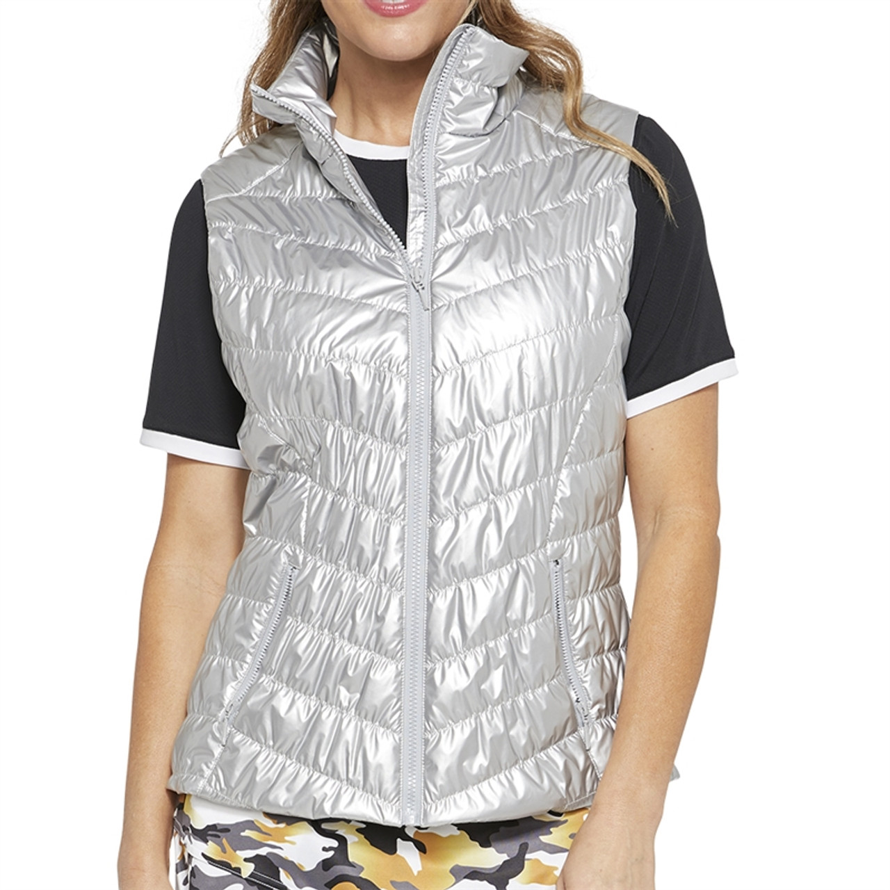 73cb3001 GG Blue Venus Quilted Vest - Silver | Golf4Her