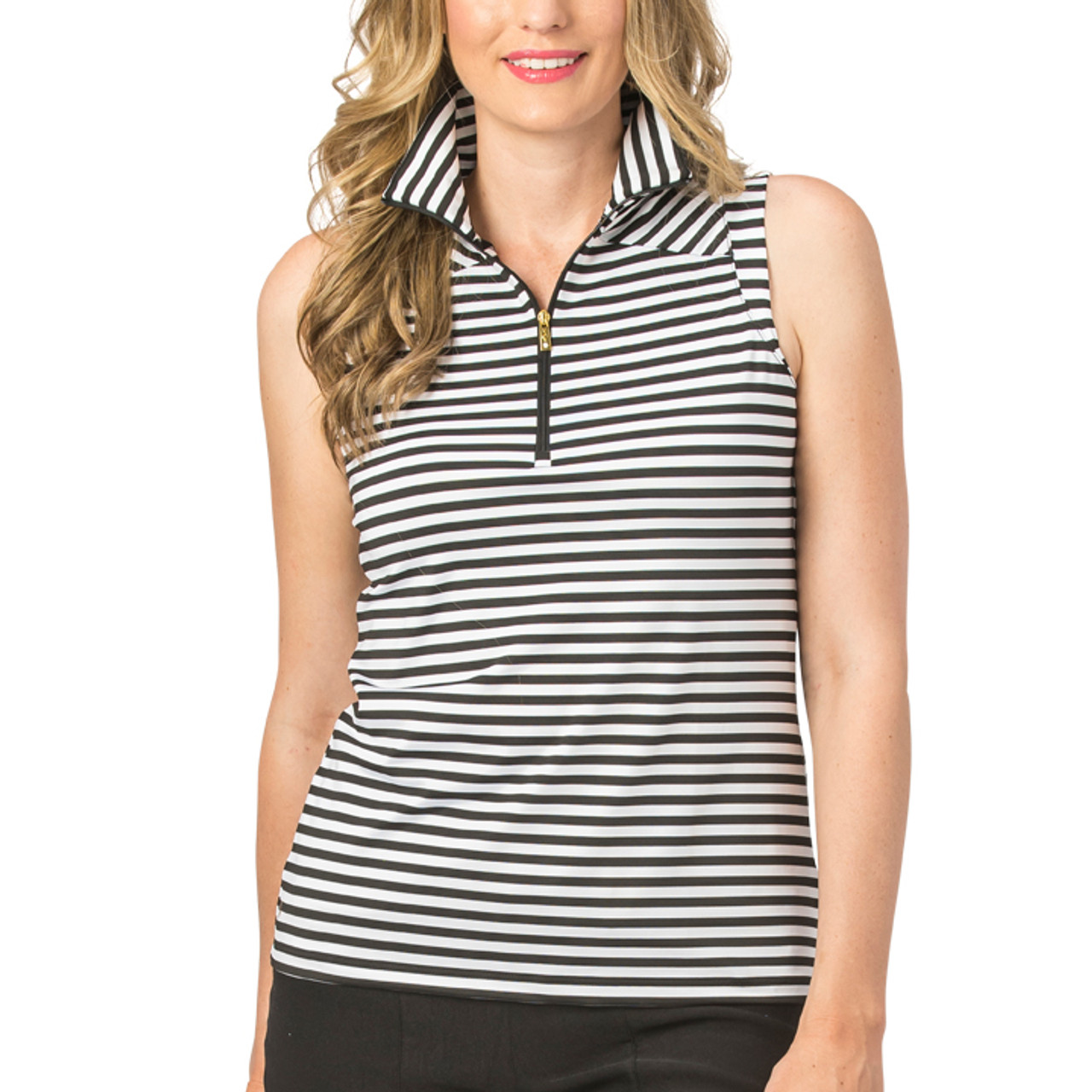 d3bffdd01ae Nancy Lopez Black White Stripe Sleeveless Polo