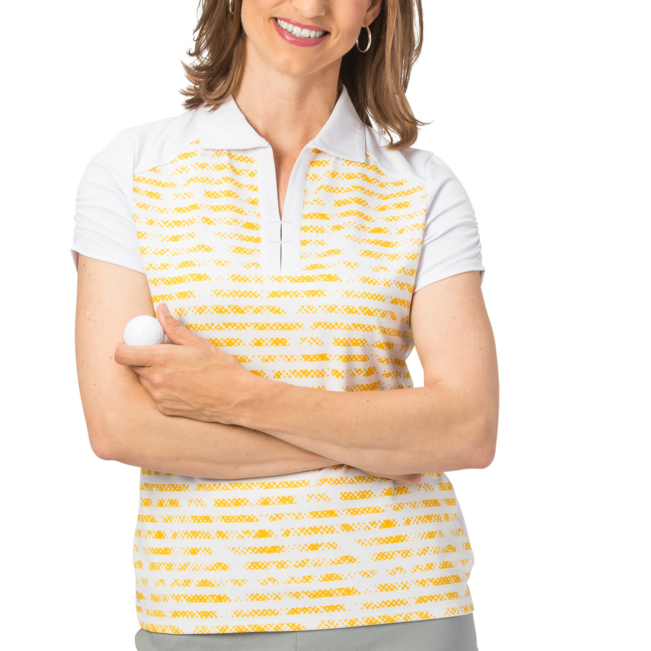 facfb273 Nancy Lopez Race Short Sleeve Polo - Daffodil | Golf4Her