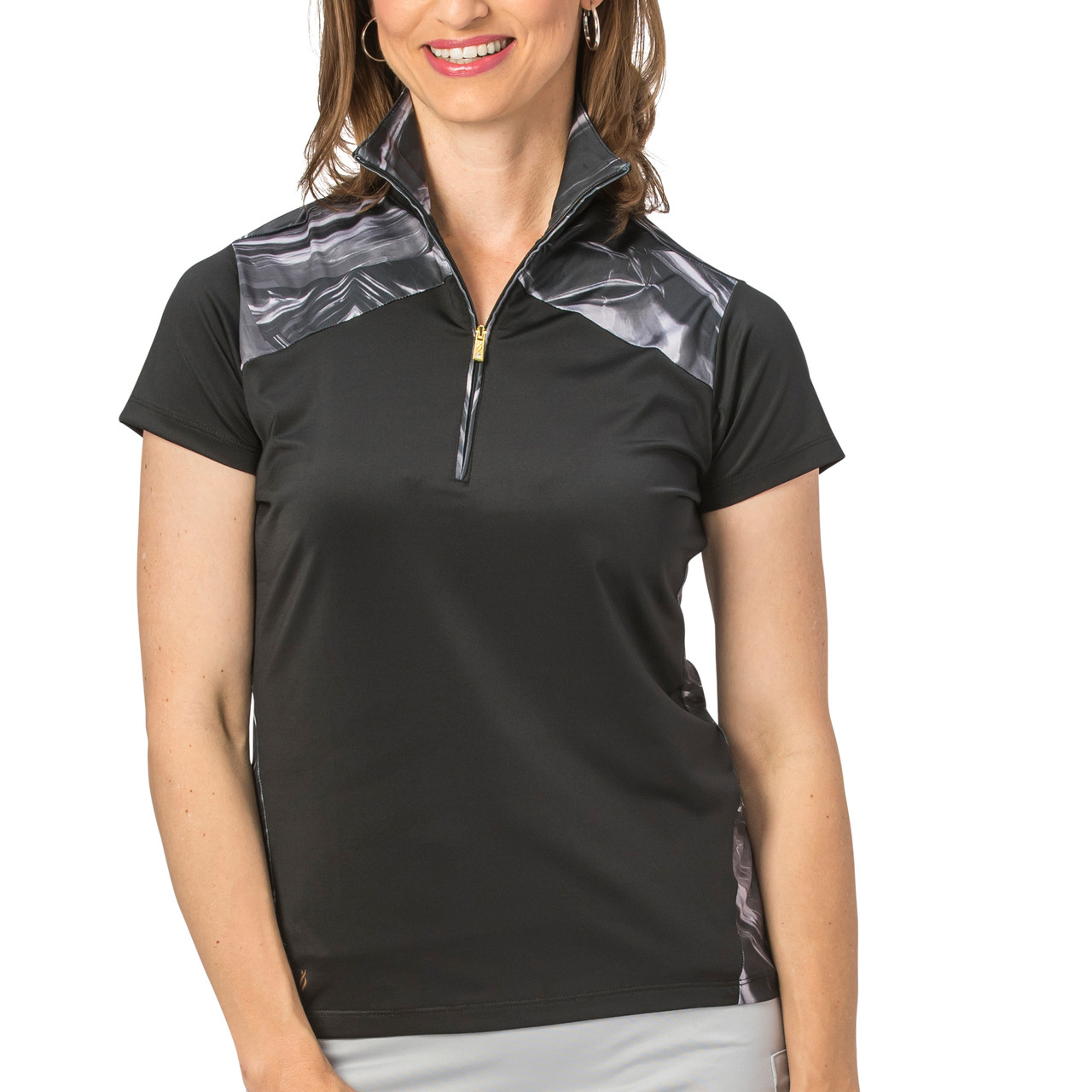 56cc9a3e Nancy Lopez Hologram Short Sleeve Polo - Black   Golf4Her