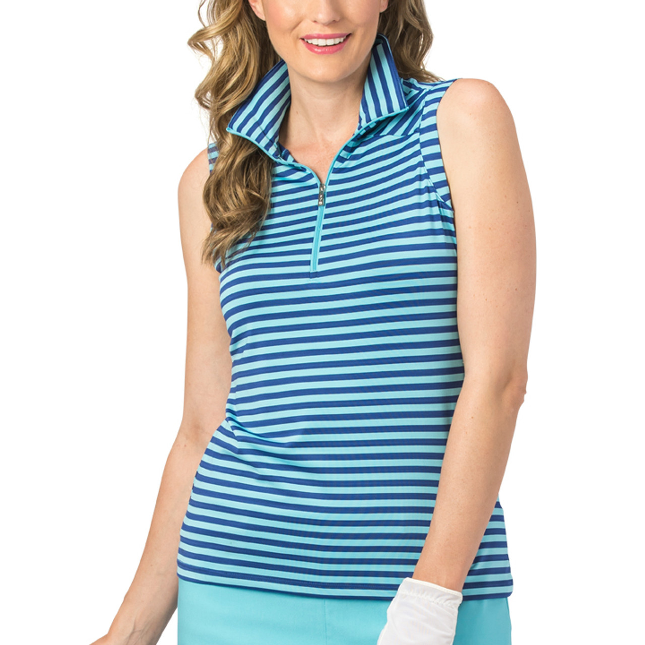 a34aa26a0cf Nancy Lopez Flight Stripe Sleeveless Polo - Twilight Aqaurius