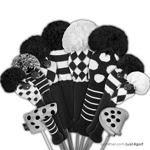 Just4Golf Driver Headcover - Black/White Dots
