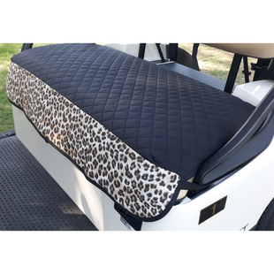 GolfChic Quilted Golf Cart Seat Cover - Black/Leopard