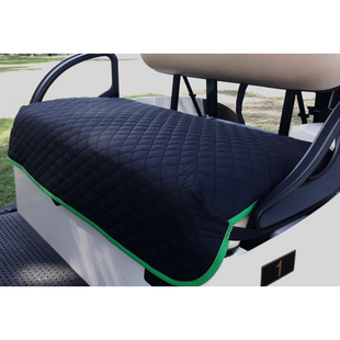 GolfChic Quilted Golf Cart Seat Cover - Black/Green