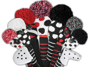 Just4Golf Hybrid Headcover - Red/Black Diagonal Stripes