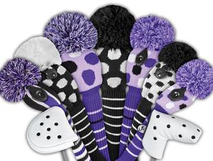 Just4Golf Hybrid Headcover - Purple/Black Vertical Stripes