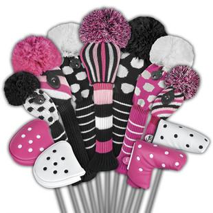 Just4Golf Fairway Headcover - Pink/Black Diagonal Stripes