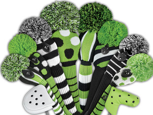 Just4Golf Fairway Headcover - Lime/Black Dots