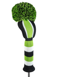 Just4Golf Driver Headcover - Lime/Black Vertical Stripes