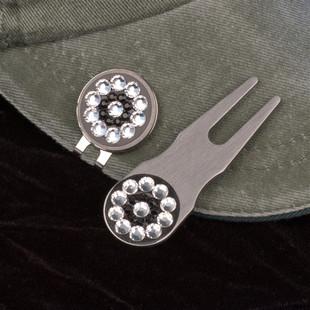 Blingo Ballmarker - Black Diamond/Silver Glitter