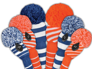 Just4Golf Fairway Knit Headcover - Orange Diagonal Stripes