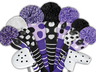 Just4Golf Fairway Headcover - Purple/White Dots