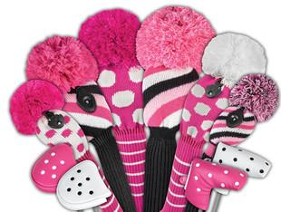 Just4Golf Hybrid Headcover - Pink/Black Diagonal Stripe