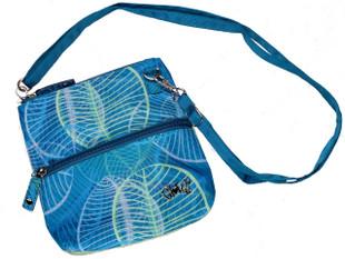 Glove It 2-Zip Cross Body Bag - Aqua Leaf