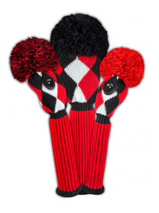 Just4Golf Headcover Set (3pc) - Red/Black Diamonds