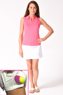 Golftini Pull-On Mesh Ruffle Skort - Top Golf White